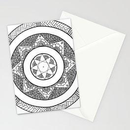 Flower Star Mandala - White Black Stationery Cards