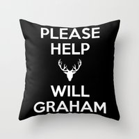will graham Throw Pillows featuring Please Help Will Graham by Paige Thulin
