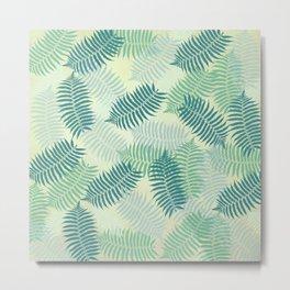 Fern Leaves on Pale Green Background Metal Print