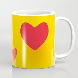Kawaii funny muzzle in love with pink cheeks and big Red heart eyes Cute Cartoon Face on yellow Coffee Mug
