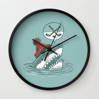 hockey Wall Clocks featuring Hockey Shark by Nick Volkert
