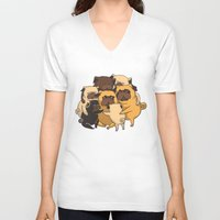 pugs V-neck T-shirts featuring Pugs Group Hug by Huebucket