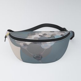 rihanna - abstract shades of blue pewter grey linen beige and pink Fanny Pack