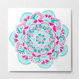 Hot Pink & Teal Mandala Flower Metal Print