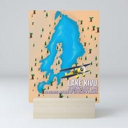 Lake Kivu Great African lake travel map. Mini Art Print