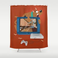 horror Shower Curtains featuring Horror Game by Lily's Factory