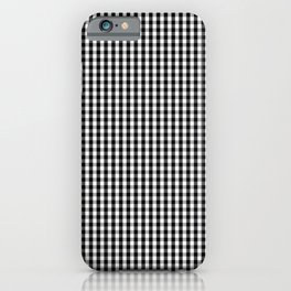 Classic Small Black & White Gingham Check Pattern iPhone Case