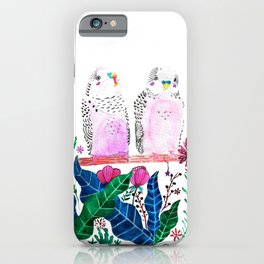 Watercolor cute little birds budgies with folk flowers and colorful leaves iPhone Case