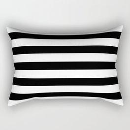 Midnight Black and White Stripes Rectangular Pillow