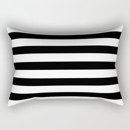 Midnight Black and White Stripes Rectangular Pillow