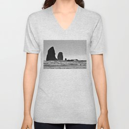 Cannon Beach Black & White Unisex V-Neck