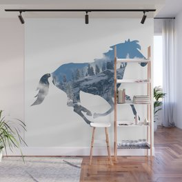 Horse Silhouette with Yosemite Valley Inlay Wall Mural