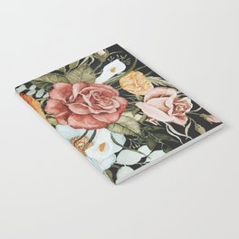 Roses and Poppies Bouquet on Charcoal Black Notebook
