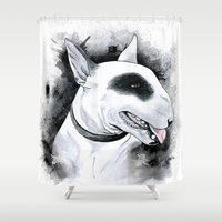 bull terrier Shower Curtains featuring Bull Terrier by kitara