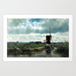 Willem Roelofs Polder landscape with windmill near Abcoude Art Print