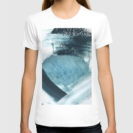 Pacific: a minimal abstract mixed media piece in blues and white T-shirt