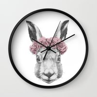 hare Wall Clocks featuring Hare  by Victoria Novak