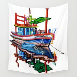 Thai fishing boat painting Wall Tapestry