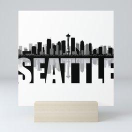 Seattle Silhouette Skyline Mini Art Print
