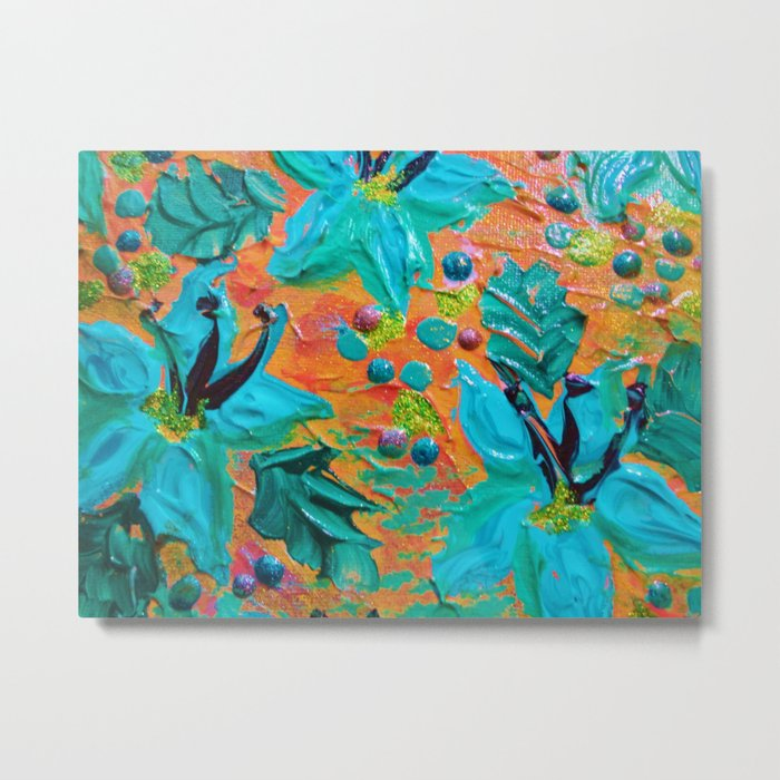 BLOOMING BEAUTIFUL 2 - Modern Abstract Acrylic Tropical Floral Painting, Home Decor Gift for Her Metal Print