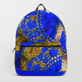 Royal Blue and Gold Abstract Lace Design Backpack