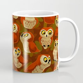 Northern Saw-whet owls pattern. Coffee Mug