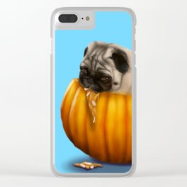 Pug in a Pumpkin Clear iPhone Case