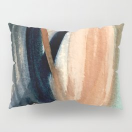 Waves - a pretty minimal watercolor abstract in blues, pinks, and browns Pillow Sham