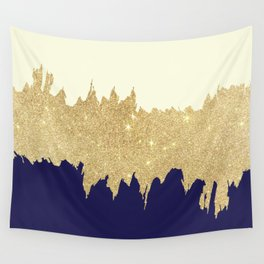 Navy blue ivory faux gold glitter brushstrokes Wall Tapestry