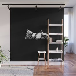 white low poly cat Wall Mural