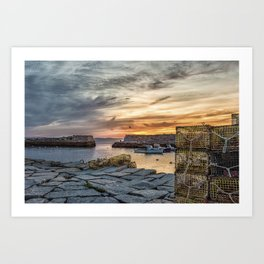 Lobster Trap sunset at lanes cove Art Print