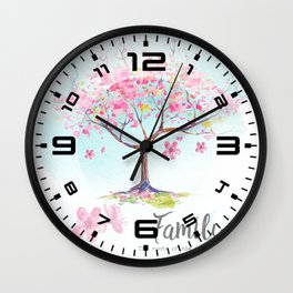 Family pink Wall Clock