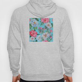 Pink and Blue Floral Print On Aqua Background Hoody