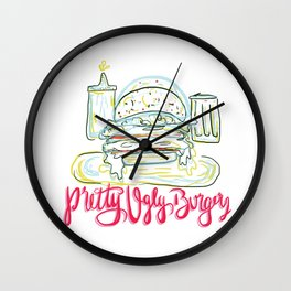 Pretty Ugly Burgers Wall Clock