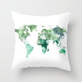 World Map Emerald Green Earth Throw Pillow