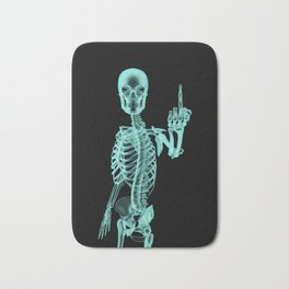 X-ray Bird / X-rayed skeleton demonstrating international hand gesture Bath Mat