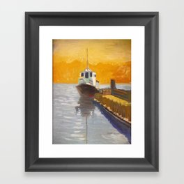 Tug boat on the VVaccamavv river Framed Art Print