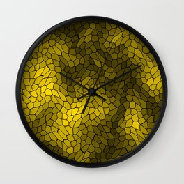 Stained glass texture of snake gold leather with bright heat spots. Wall Clock