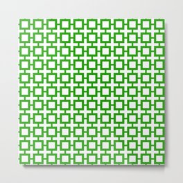 Green Trellis Squares Metal Print