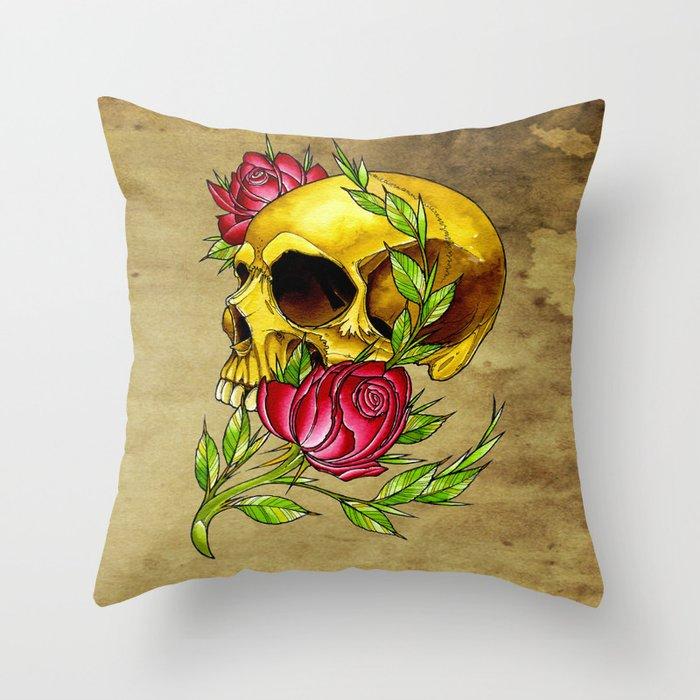 trad skull w rose Throw Pillow
