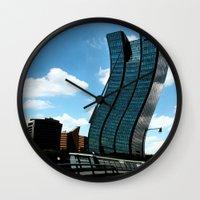 buildings Wall Clocks featuring Buildings by Kathleen Stephens