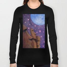 Moai & Moon in Universe Long Sleeve T-shirt