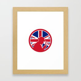 British Private Investigator Union Jack Flag Icon Framed Art Print