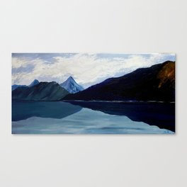 In synergy of sky, clouds, mountains and lake Canvas Print