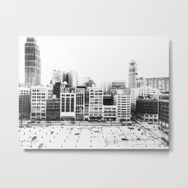 Woodward Avenue Downtown Detroit Black and White Print Metal Print