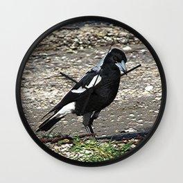 Magpie on Beach Wall Clock