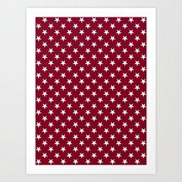 White on Burgundy Red Stars Art Print