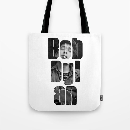 Bob Dylan Font Black And White Tote Bag