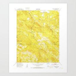 Burnett Peak, CA from 1949 Vintage Map - High Quality Art Print