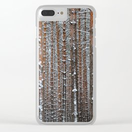 Close view of the winter pine tree forest Clear iPhone Case